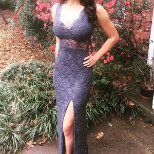 Steel Blue lace gown